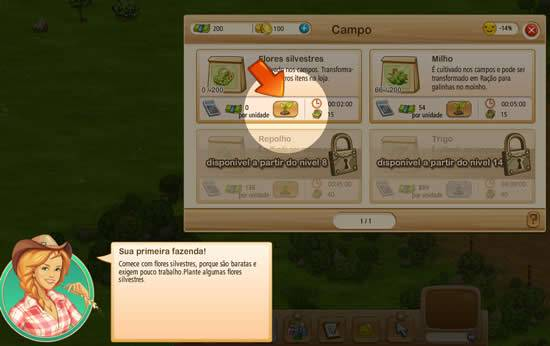 Jogo big Farm - Interface